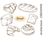 bread  bakery products  vector... | Shutterstock .eps vector #238254940