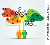 group of people connected to... | Shutterstock .eps vector #238257610