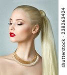 Small photo of Beauty portrait of gorgeous blonde woman with ponytail