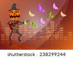 pumpkin headed skeleton ... | Shutterstock .eps vector #238299244
