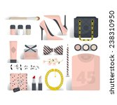 flat lay woman's fashion  pink... | Shutterstock .eps vector #238310950