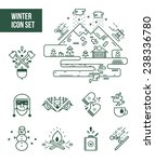 winter and lumberjack icon sets.... | Shutterstock .eps vector #238336780