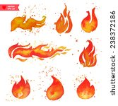 Fire  Water Color Vector  Each...