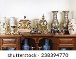 Various antique clocks vases...