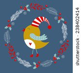 Christmas Card With Bird....