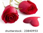 Two red rose with heart isolated on white - stock photo
