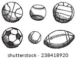 ball sketch set with shadow... | Shutterstock .eps vector #238418920
