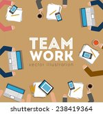 teamwork design over brown... | Shutterstock .eps vector #238419364