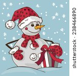 image of a snowman in hat and... | Shutterstock .eps vector #238466890