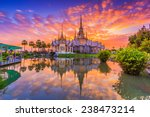 Landmark Wat Thai Sunset Temple - Fine Art prints