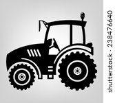 Tractor Icon Black Vector Macr...