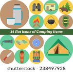 camping icons set  made in flat ... | Shutterstock .eps vector #238497928
