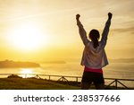 successful sporty woman raising ... | Shutterstock . vector #238537666