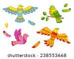 set of fantasy vector birds and ... | Shutterstock .eps vector #238553668