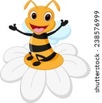 happy bee cartoon on flower  | Shutterstock .eps vector #238576999