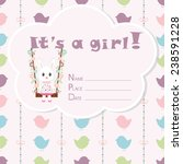 baby girl arrival card. baby... | Shutterstock .eps vector #238591228