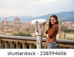 beautiful girl impressed view... | Shutterstock . vector #238594606