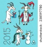 set with goats for new 2015... | Shutterstock . vector #238597780