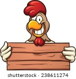 chicken with a wooden sign.... | Shutterstock .eps vector #238611274