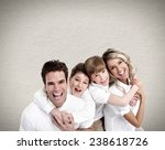 happy family with two boys near ... | Shutterstock . vector #238618726