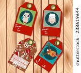 vector christmas tags with deer ...   Shutterstock .eps vector #238619644