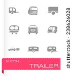 vector trailer icon set on grey ... | Shutterstock .eps vector #238626028