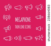 megaphones thin line icons.  | Shutterstock .eps vector #238664083