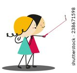 doodle selfie   full color | Shutterstock .eps vector #238671598