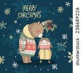 Christmas Card With Bear Who...