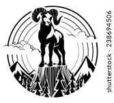 Mountain Bighorn Sheep. Vector...
