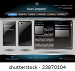Mobile phone editable website template - stock vector