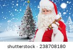 santa claus holding beer and... | Shutterstock . vector #238708180