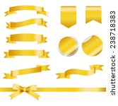 Gold Ribbons Set Isolated On...