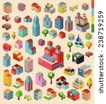 colorful vector isometric city... | Shutterstock .eps vector #238719259