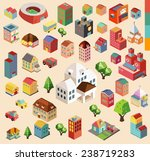 colorful vector isometric city... | Shutterstock .eps vector #238719283
