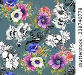 colorful garden flowers... | Shutterstock .eps vector #238740778