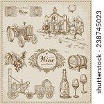 vintage set. wine | Shutterstock .eps vector #238745023