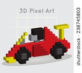 Race car. 3D Pixel Art.