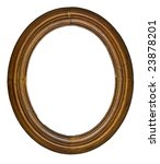 vintage wooden oval frame isolated over white background - stock photo