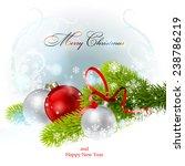 christmas balls and fir branch. ... | Shutterstock .eps vector #238786219