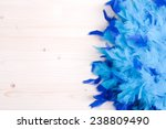 Blue Feather Boa On Light Boar...
