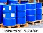 many blue barrels standing on... | Shutterstock . vector #238830184