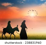 mary and joseph with a donkey... | Shutterstock . vector #238831960