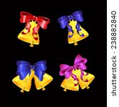 vector set of golden bells with ...