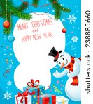 poster with snowman on blue... | Shutterstock .eps vector #238885660