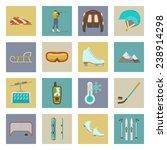 winter sports flat icons set... | Shutterstock .eps vector #238914298