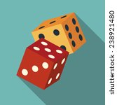 dice icon with long shadow.... | Shutterstock .eps vector #238921480