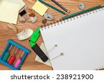 desk with a notebook and the... | Shutterstock . vector #238921900