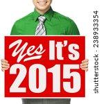 a man holding a sign announcing ... | Shutterstock . vector #238933354