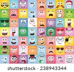 set of cartoon faces with... | Shutterstock .eps vector #238943344